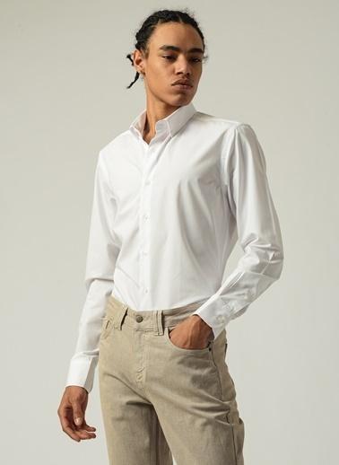 People By Fabrika Erkek Düğmeli Yaka  Gömlek PFESS20GM0044 Beyaz